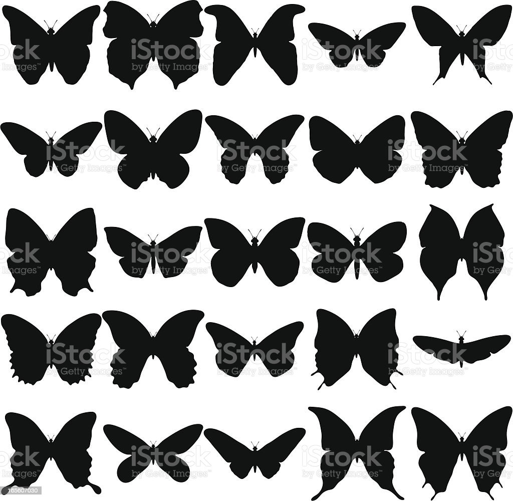 Butterfly Silhouette Collection royalty-free stock vector art