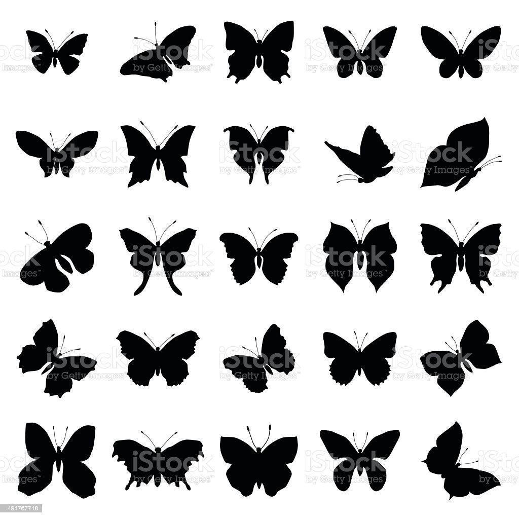 Butterfly silhouette set vector art illustration