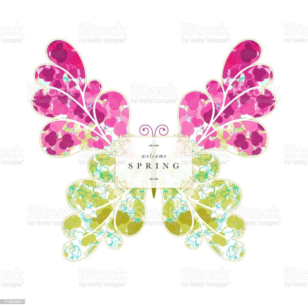 Butterfly springtime spring banner text floral pattern vector art illustration