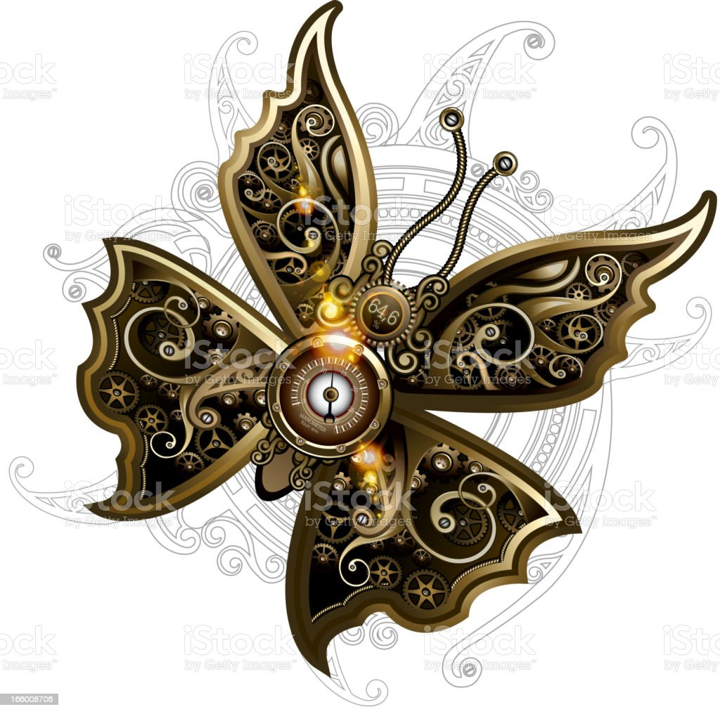 Butterfly steampunk royalty-free stock vector art