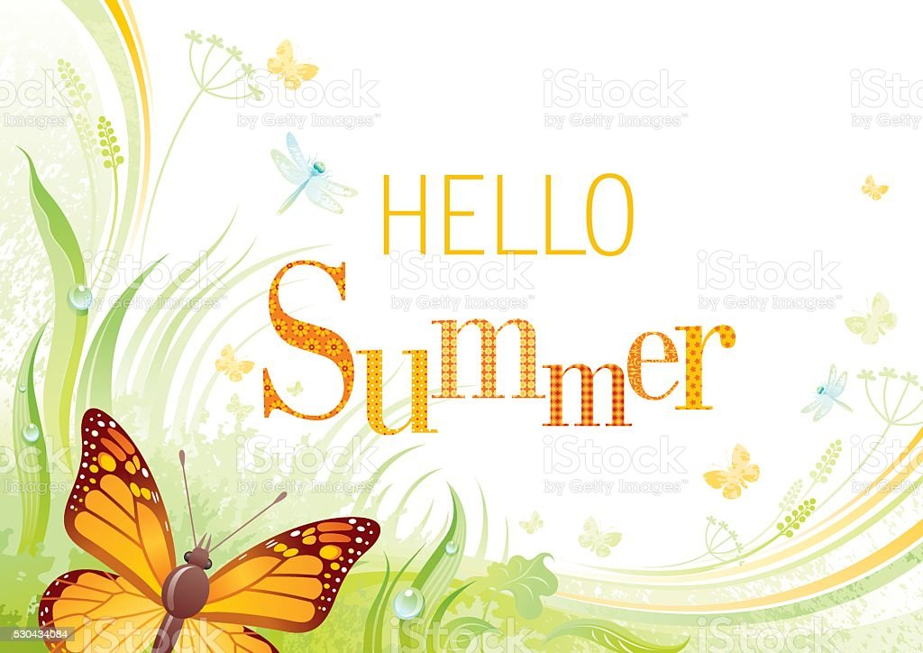 Butterfly Summer background with copyspace vector art illustration