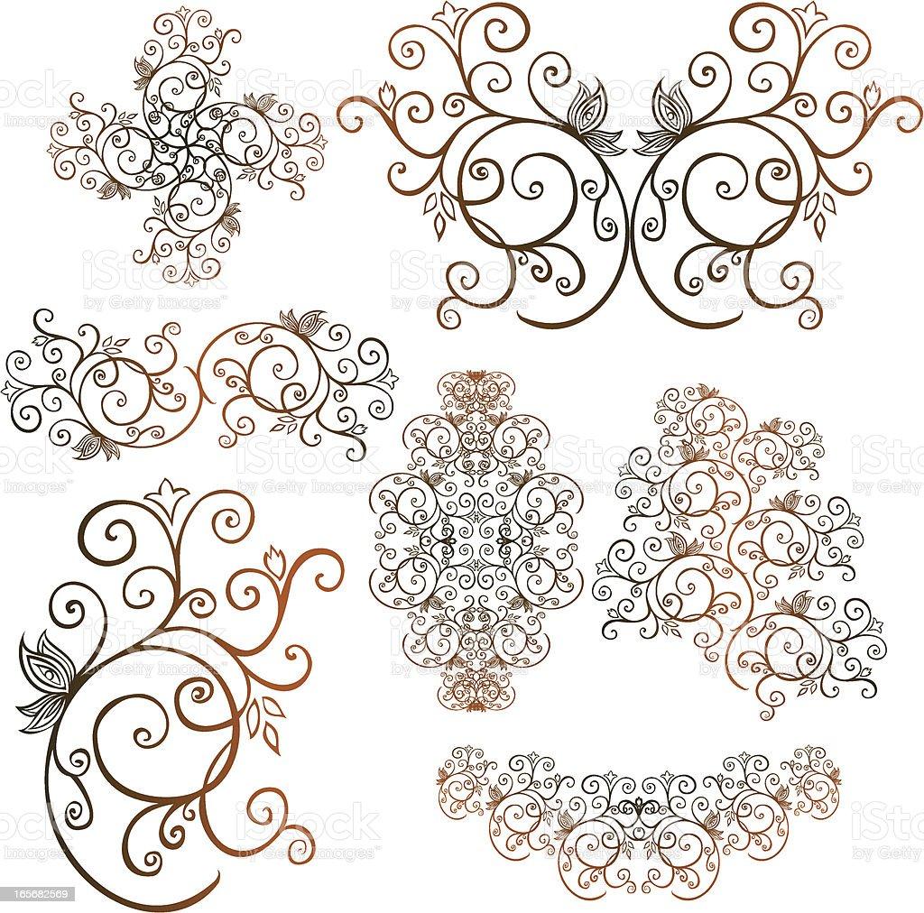 butterfly swirl element set royalty-free stock vector art