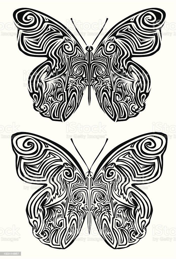 Tatouage papillons stock vecteur libres de droits libre de droits