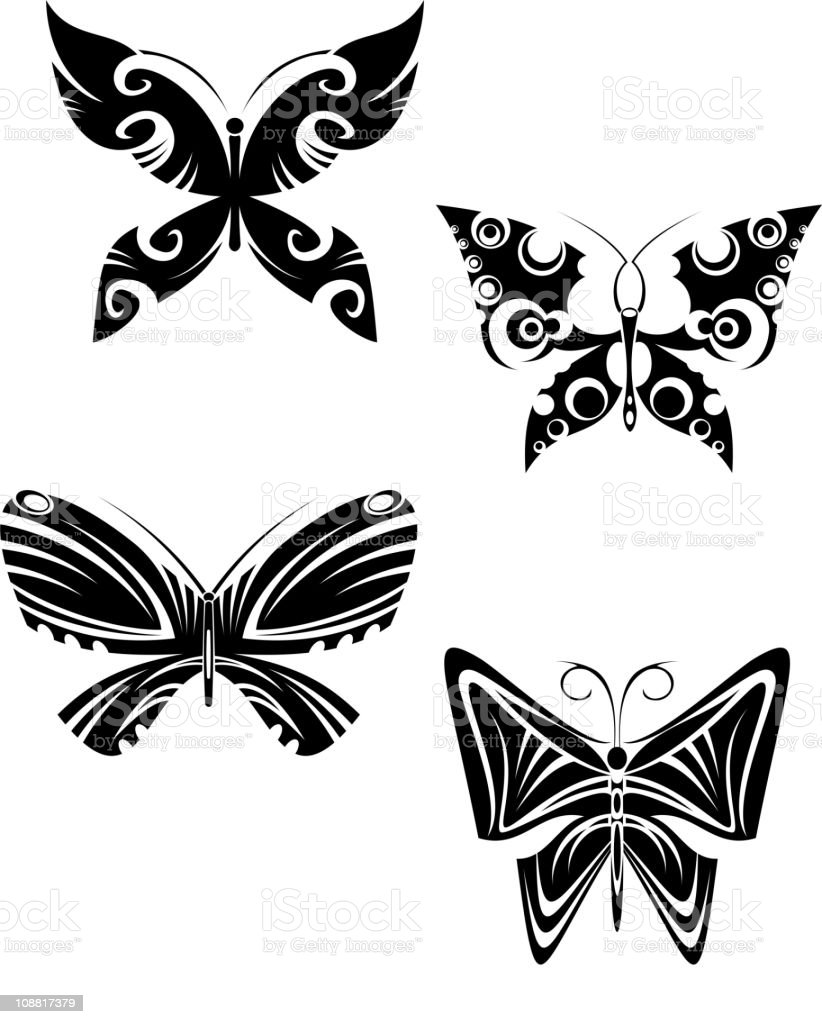 Butterfly tattoos royalty-free stock vector art