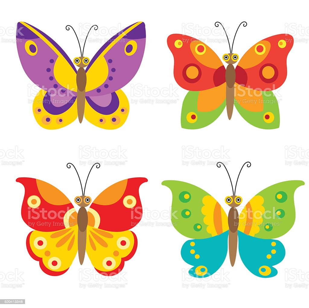Butterfly Vector Set Icons. Set Of Simple Flying Butterfly. vector art illustration