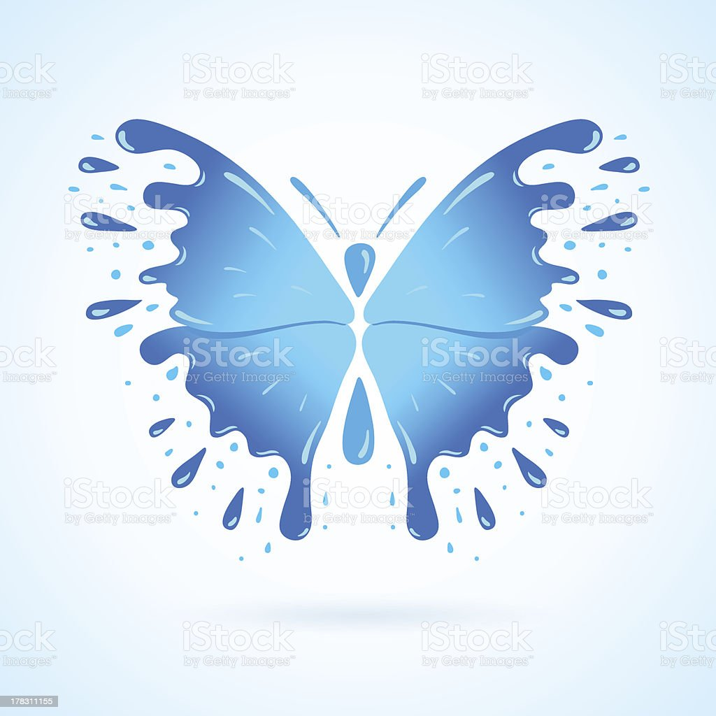 butterfly water aqua blue splash drops royalty-free stock vector art