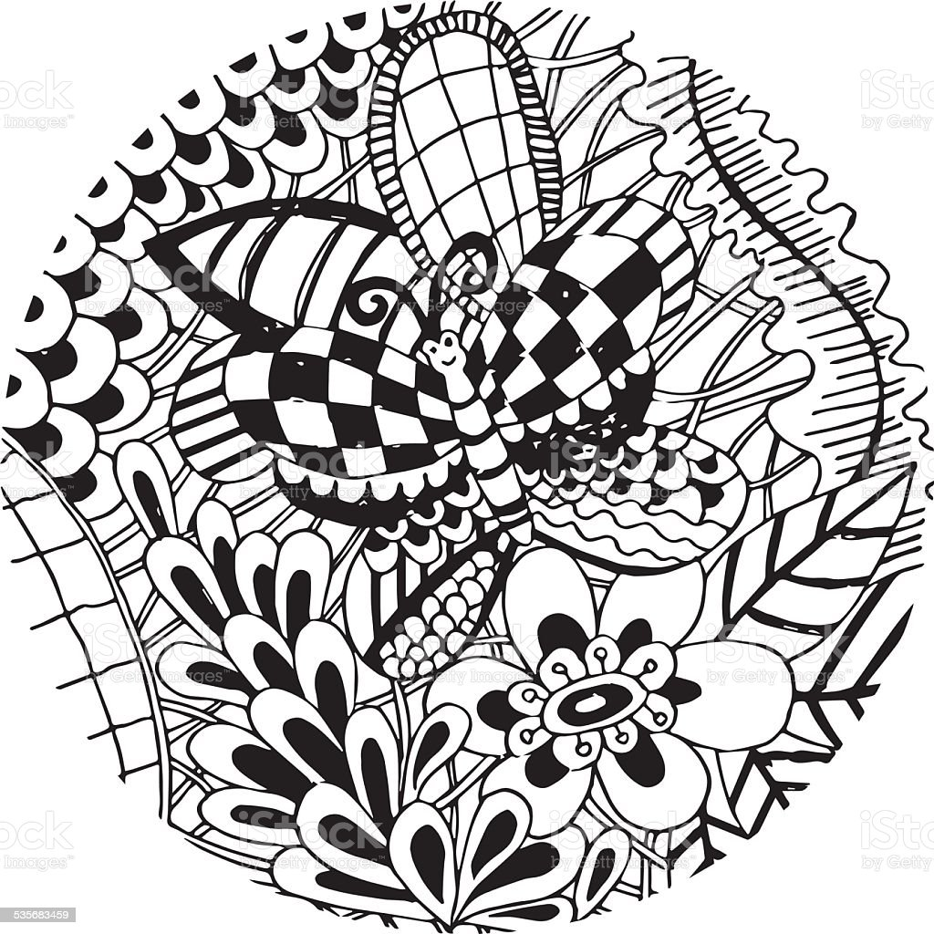 butterfly with flower doodle vector stock vector art 535683459