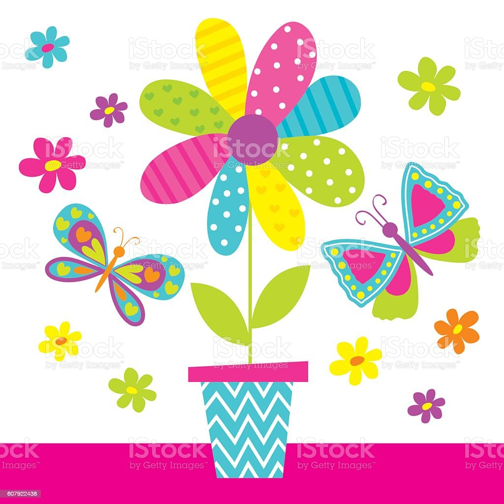 butterfly with flower pot stock vector art 607922438 istock