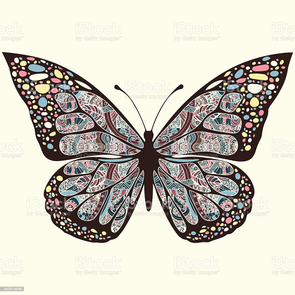 Butterfly with patterns. Wings  multicolored oriental ornaments in style boho royalty-free stock vector art