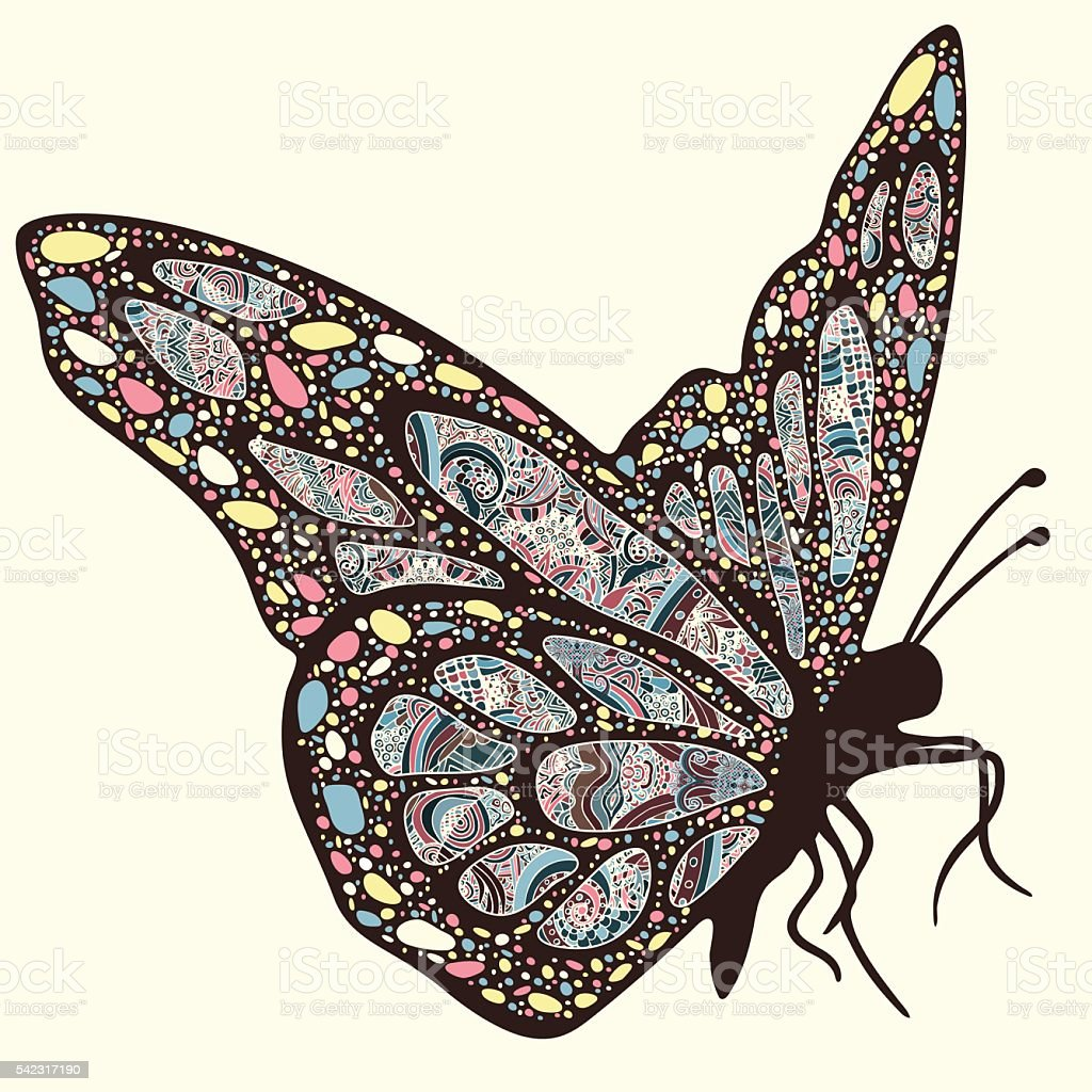 Butterfly with patterns. Wings with multicolored oriental ornaments in style royalty-free stock vector art