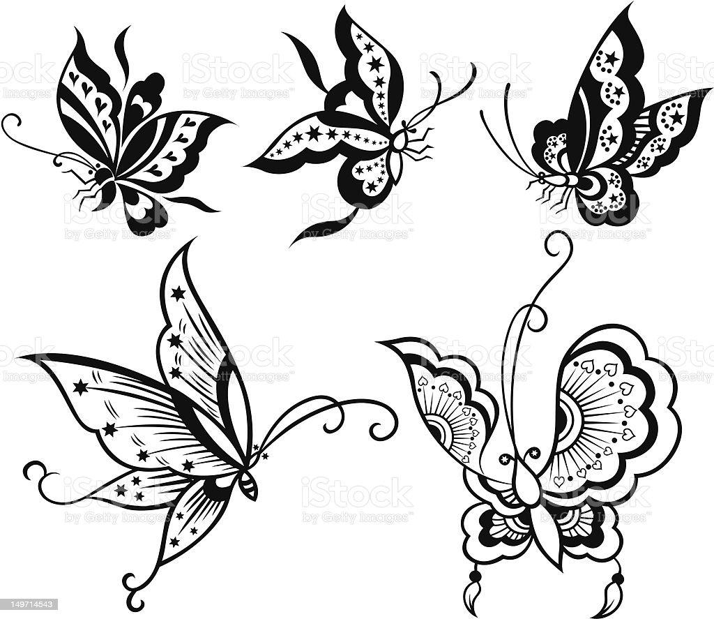 Farfalla con motivo a stelle e cuore illustrazione royalty-free
