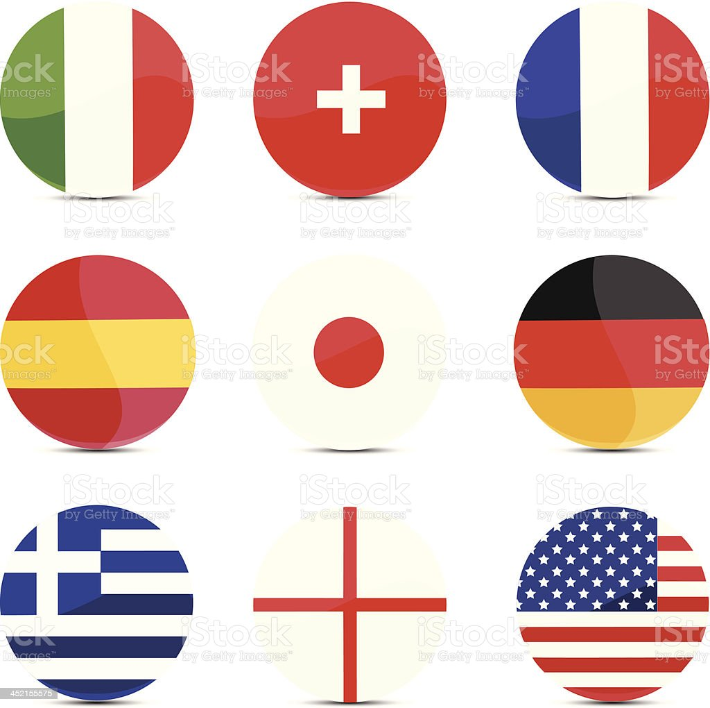 Button flags royalty-free stock vector art