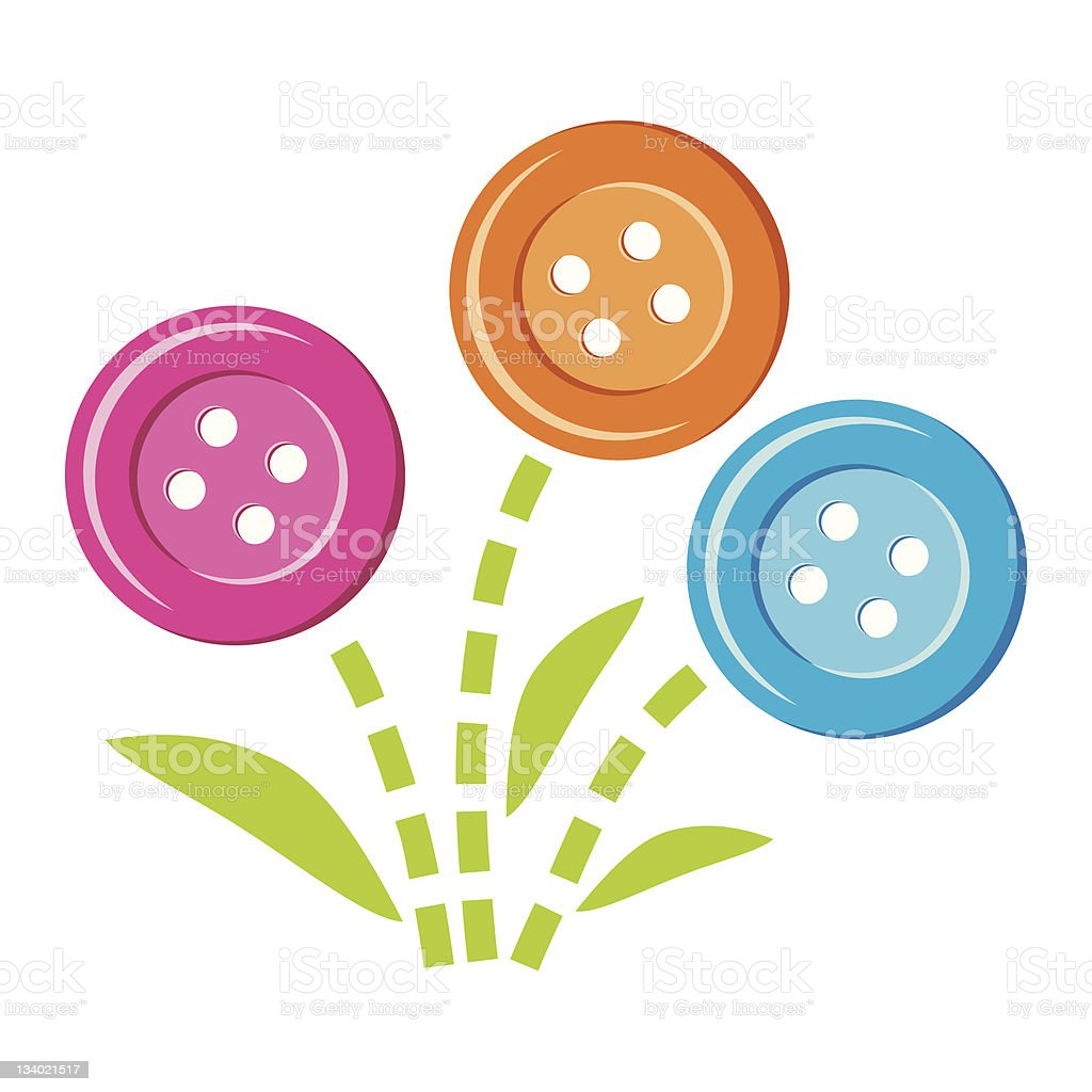button flowers vector art illustration