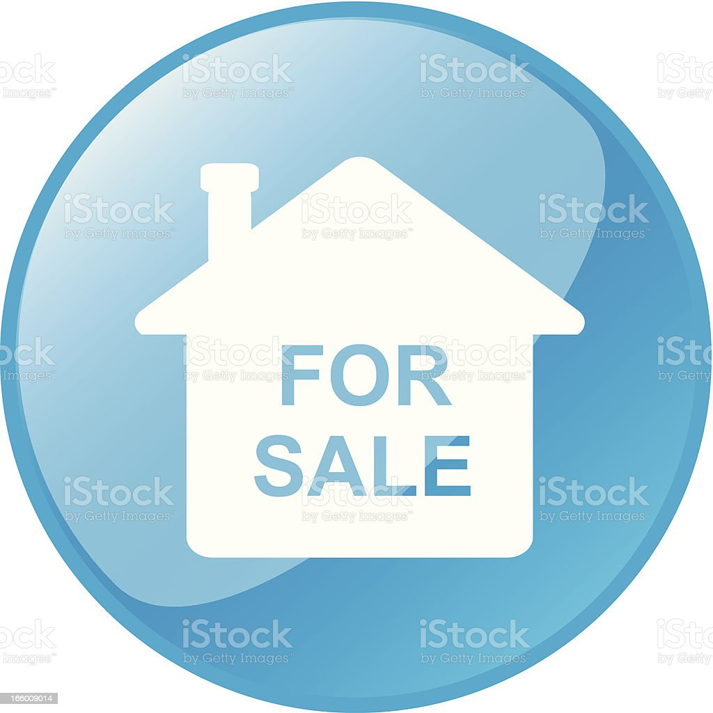 Button Icon - House For Sale royalty-free stock vector art