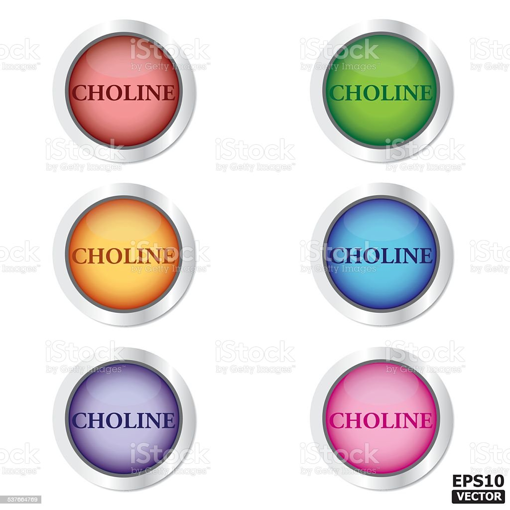 CHOLINE Button or (icon, sign, symbol, badge). vector art illustration