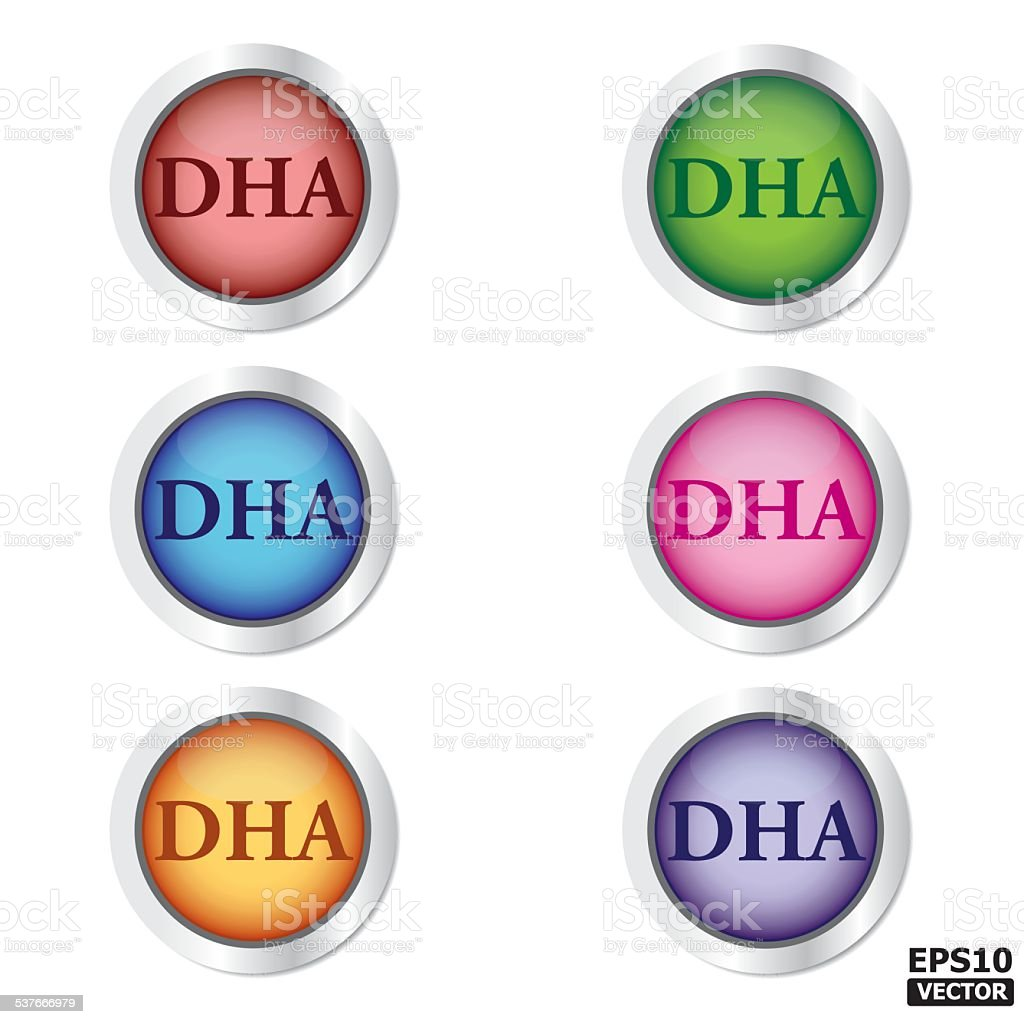 DHA Button or (icon, sign, symbol, badge). royalty-free stock vector art