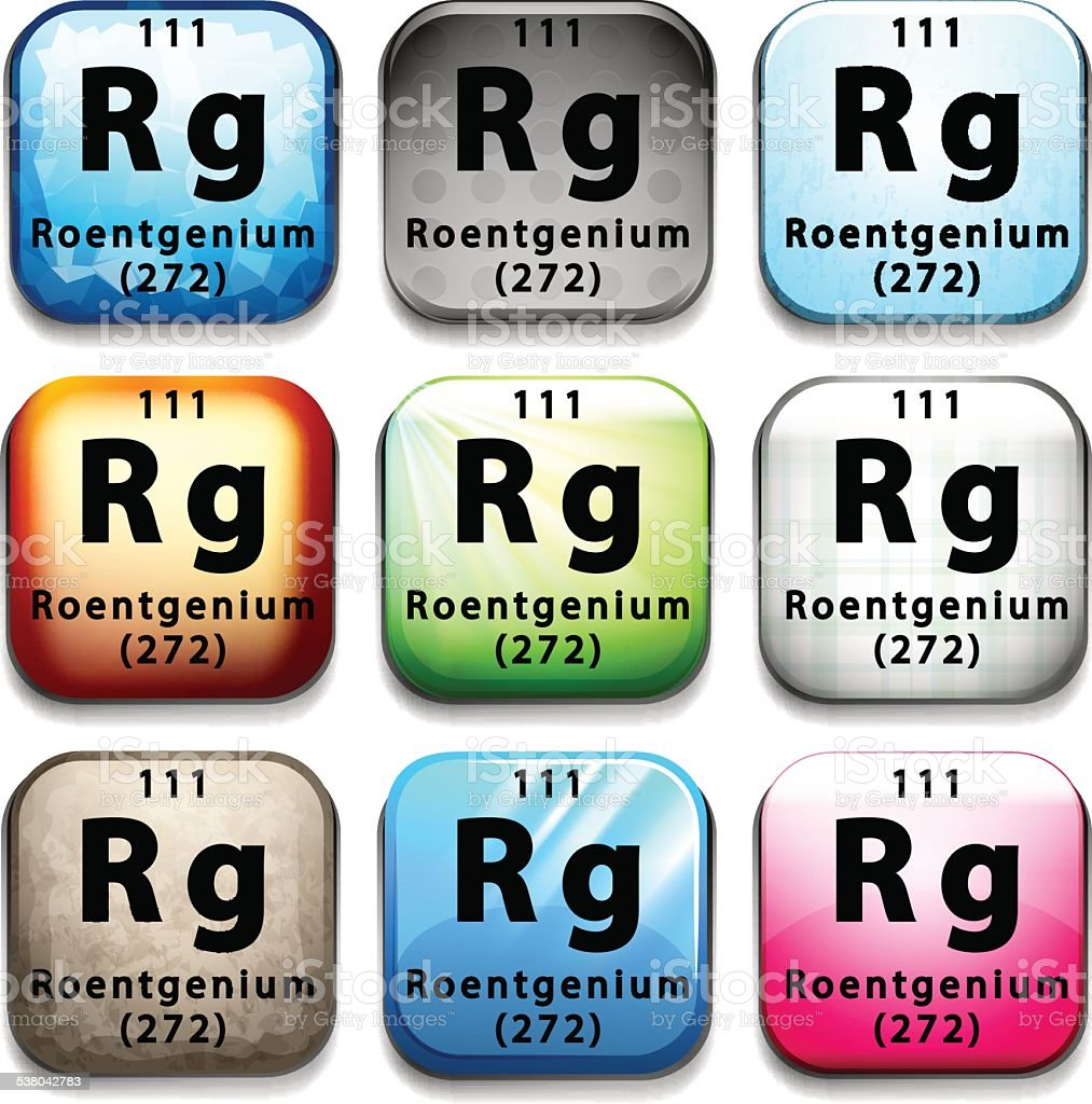 Button showing the element Roentgenium vector art illustration