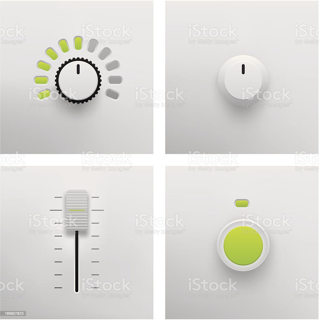 Button, Slider and Fader Vector vector art illustration