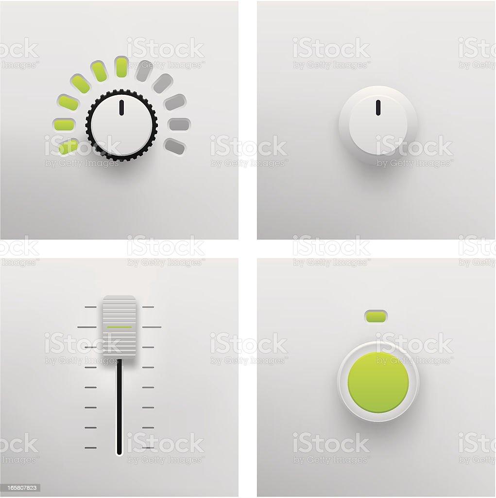 Button, Slider and Fader Vector vector art illustration