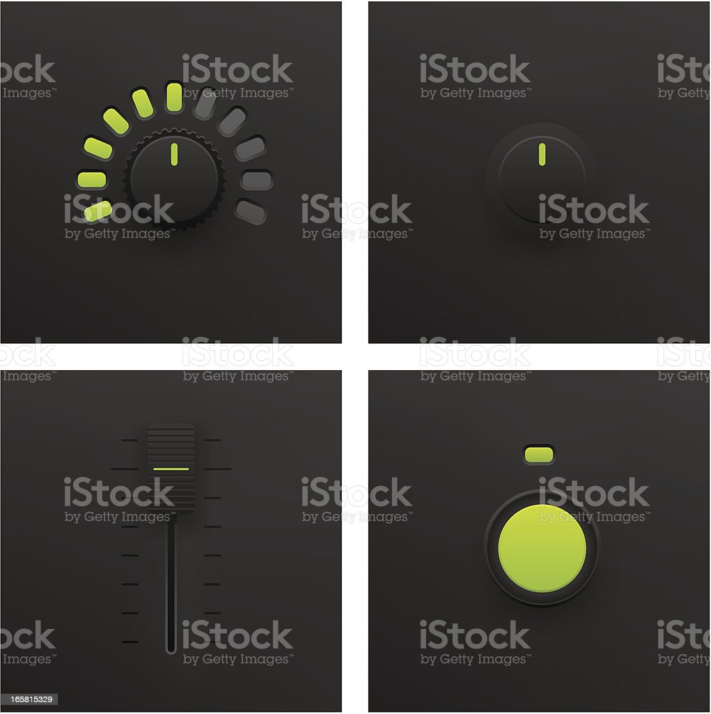 Button, Slider and Fader Vector royalty-free stock vector art