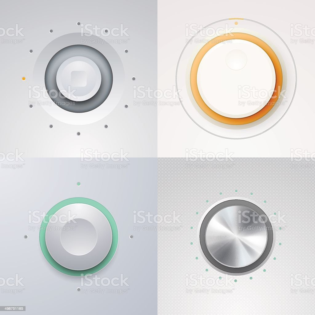 Button, Slider and Fader VectorKnobs and audio controllers vector art illustration
