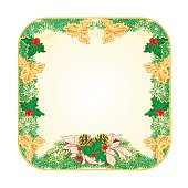 Button square Christmas white poinsettia and holly and pine cones vector