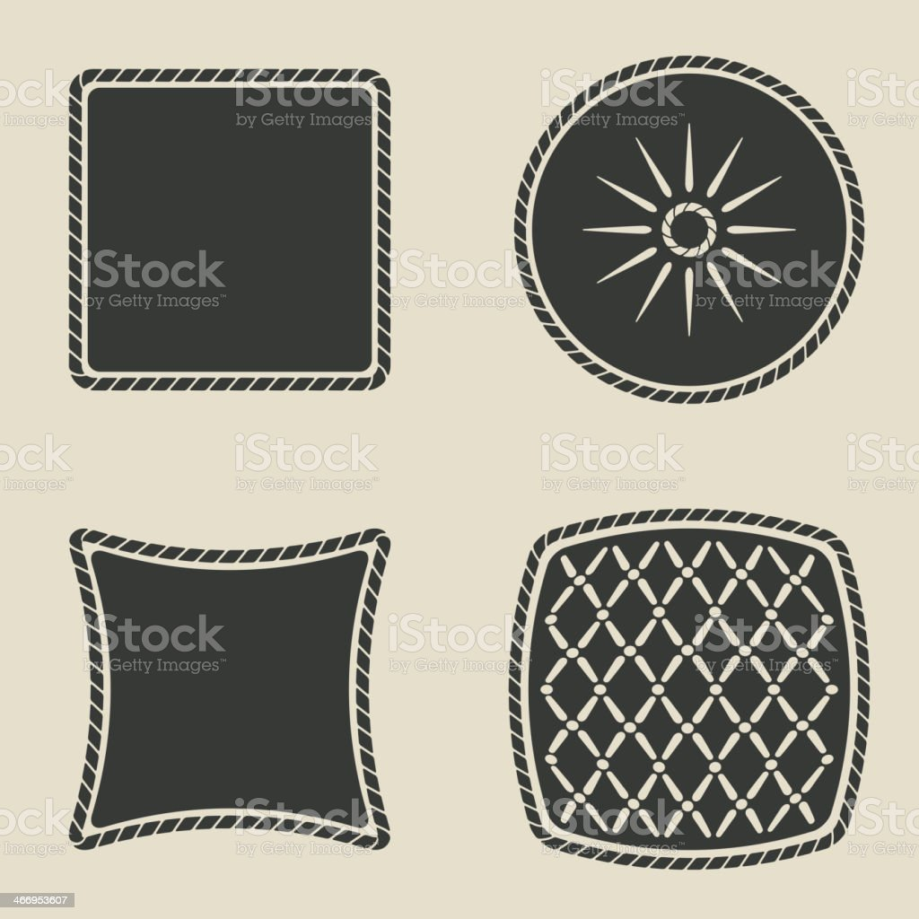 button stylized icons set vector art illustration