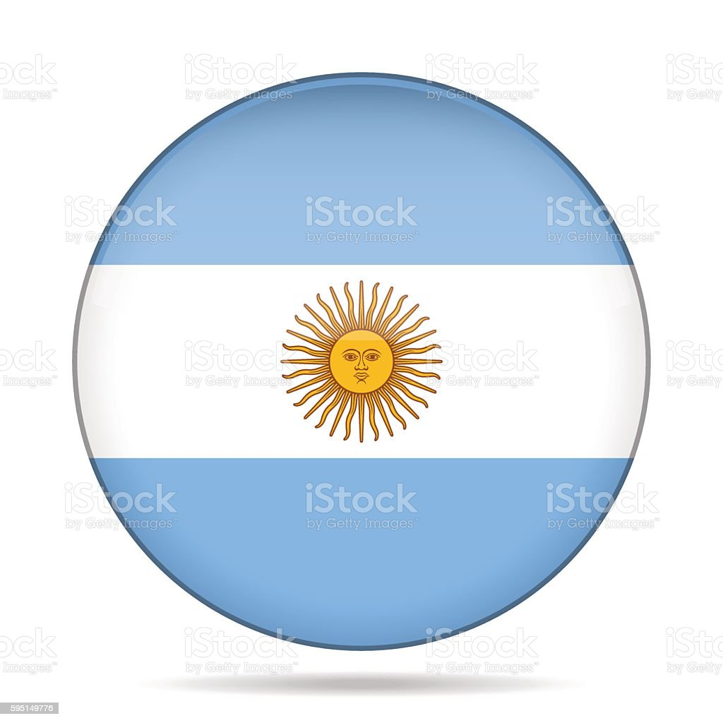 button with flag of Argentina vector art illustration