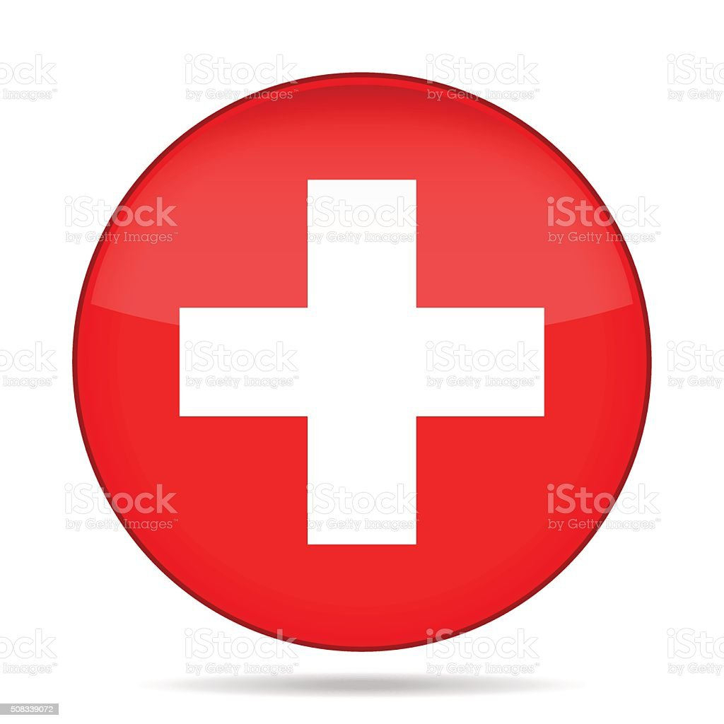 button with flag of Switzerland vector art illustration