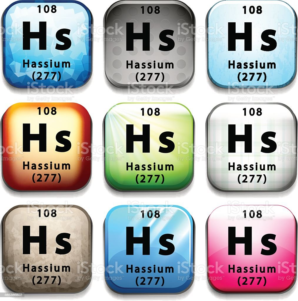 Button with the chemical Hassium vector art illustration