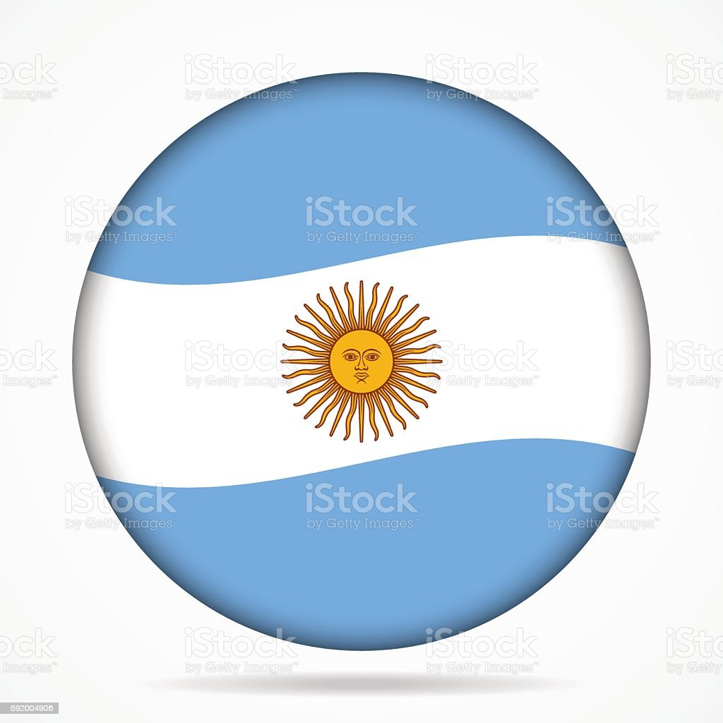 button with waving flag of Argentina vector art illustration