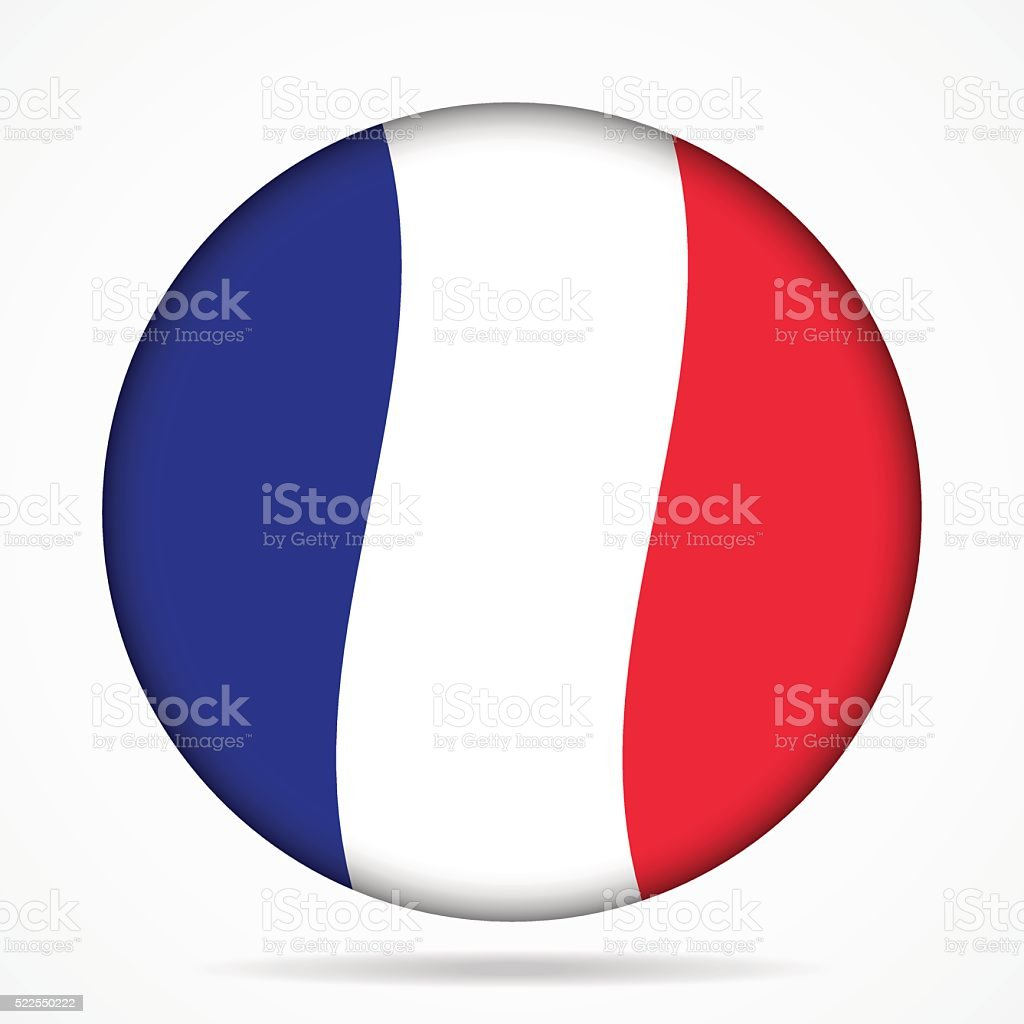 button with waving flag of France vector art illustration
