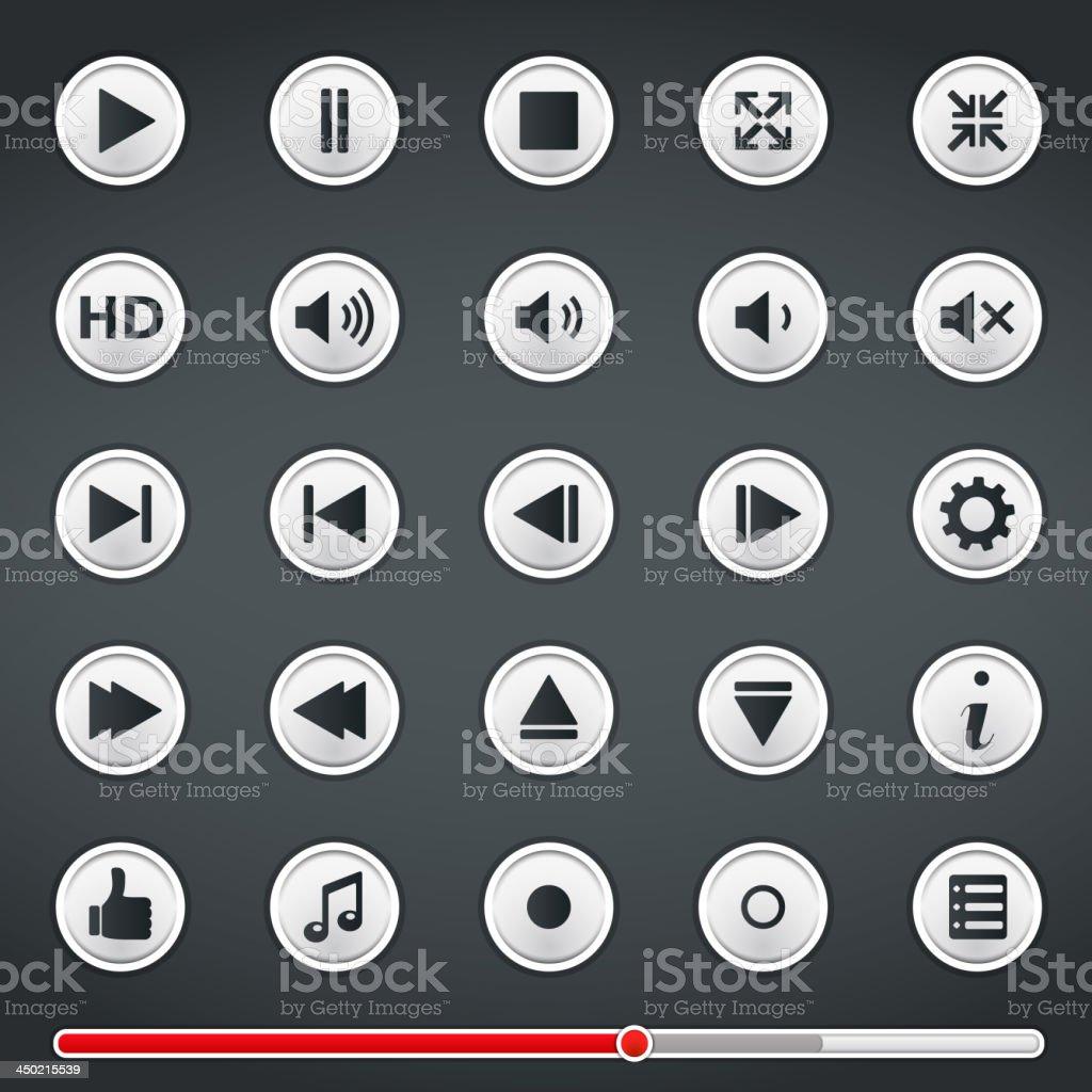 Buttons for Media Player vector art illustration