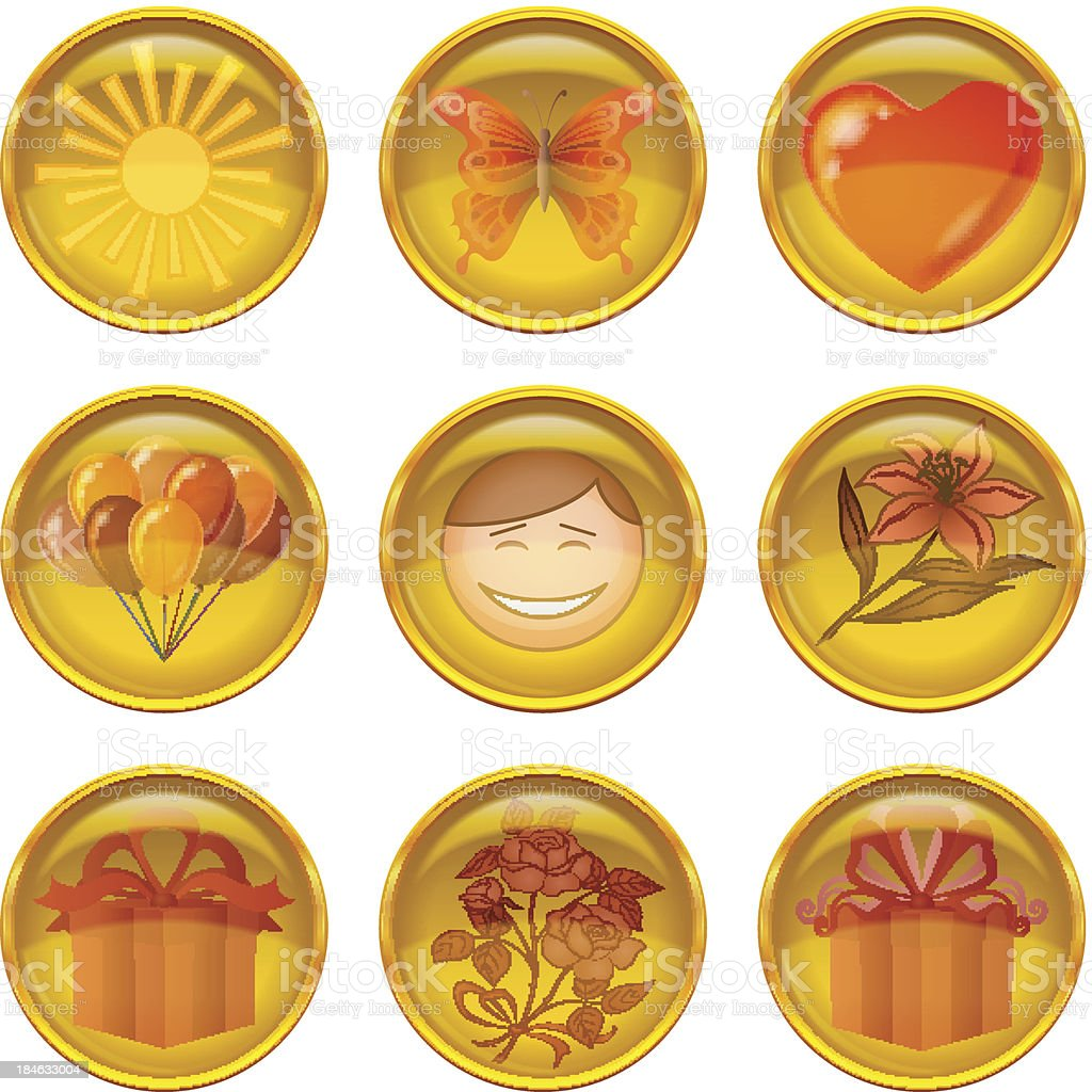 Buttons set, holiday royalty-free stock vector art