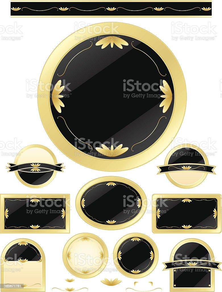 Schaltflächen-Set-edlem Schwarz, Schwarz-Metallic Gold Lizenzfreies vektor illustration