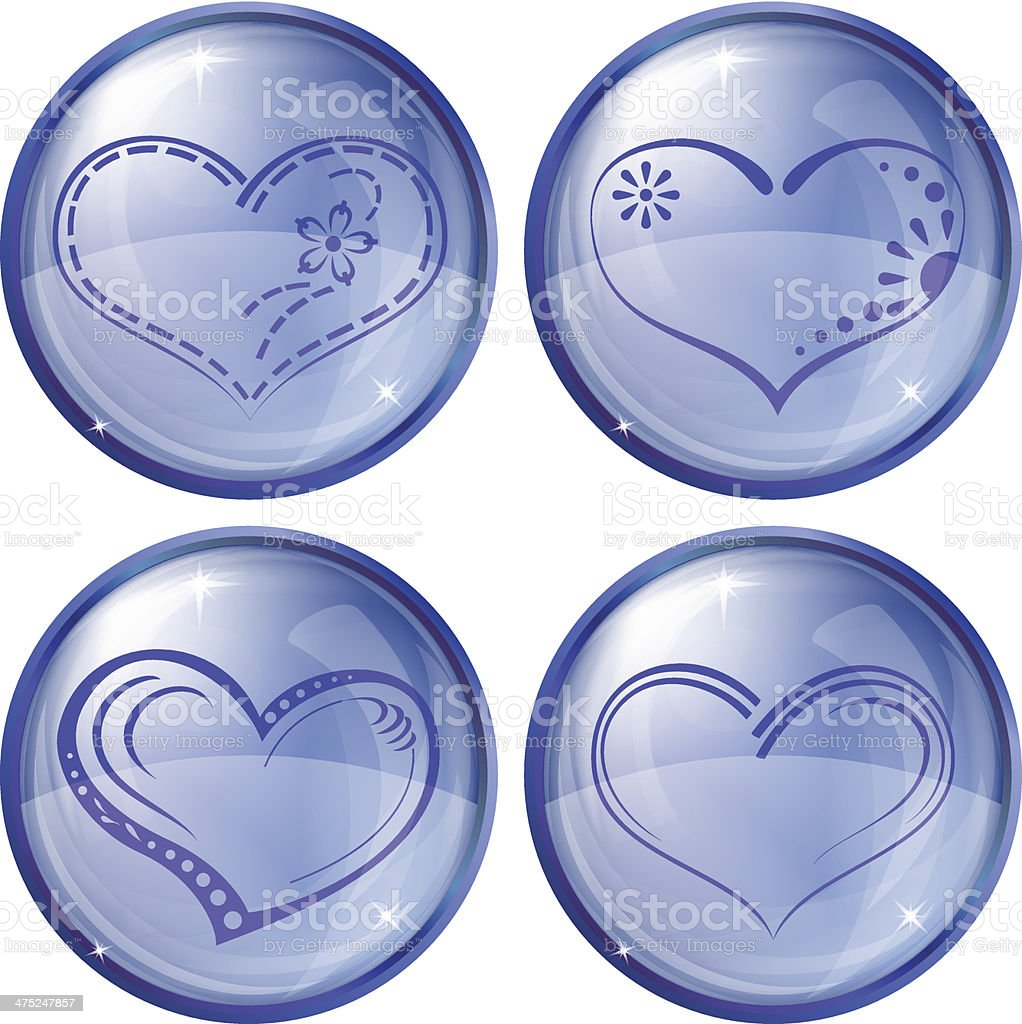 Buttons, valentine heart, set royalty-free stock vector art