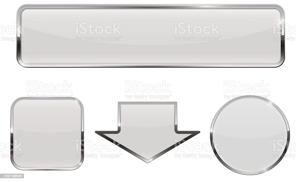 Buttons. White web icons with chrome frame vector art illustration