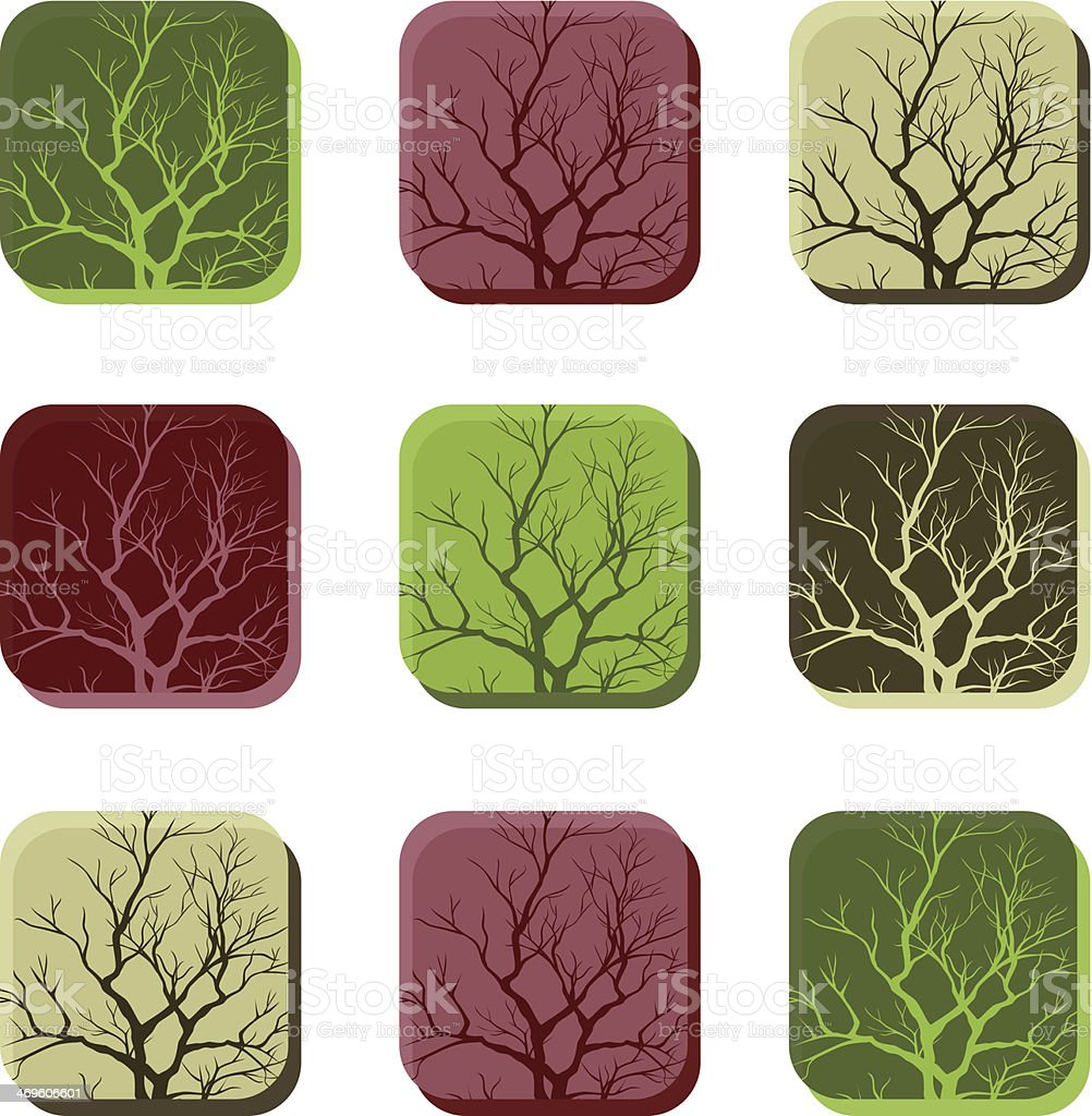 Buttons with branches. Icon set vector art illustration