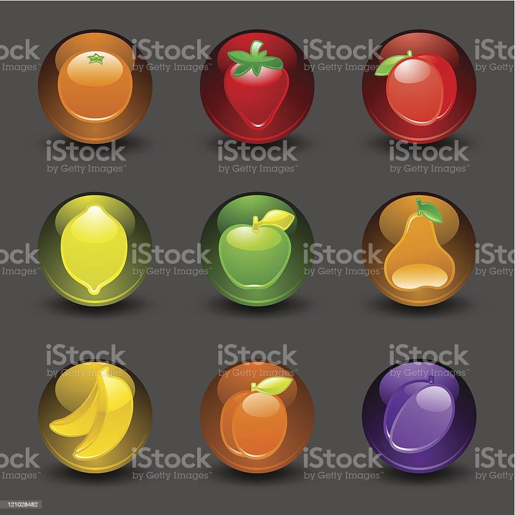 Пуговицы с фруктами на темном фоне векторная иллюстрация