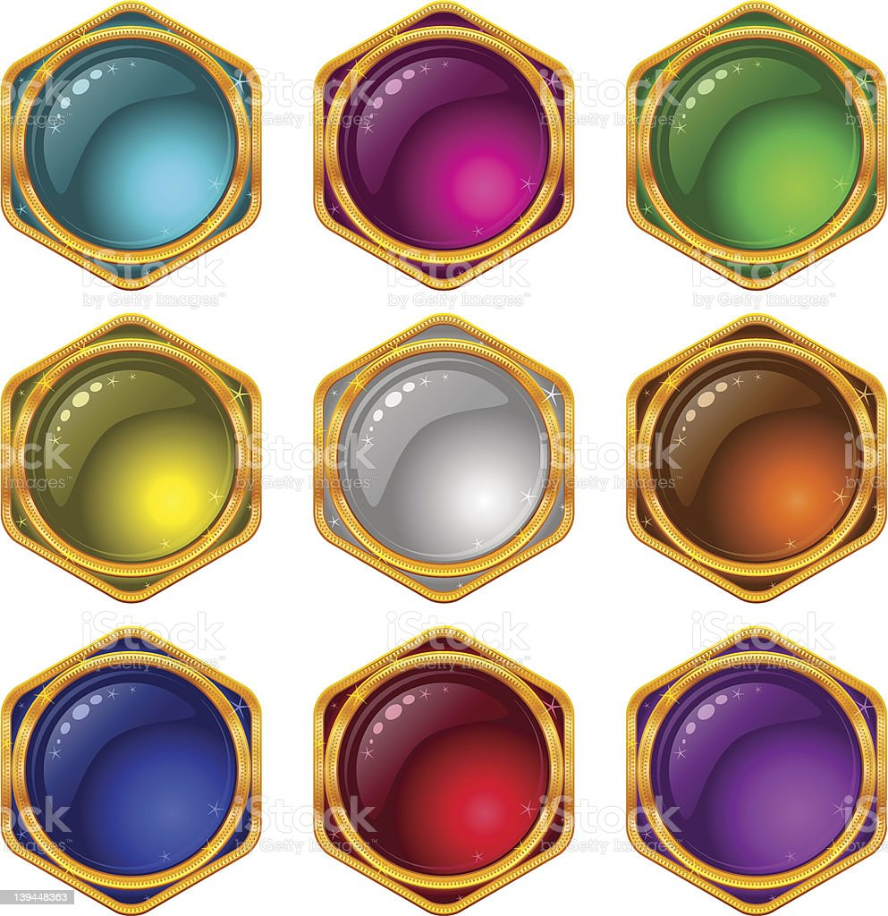 Buttons with gems, set, round royalty-free stock photo