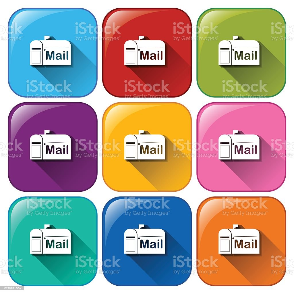 Buttons with mailbox vector art illustration
