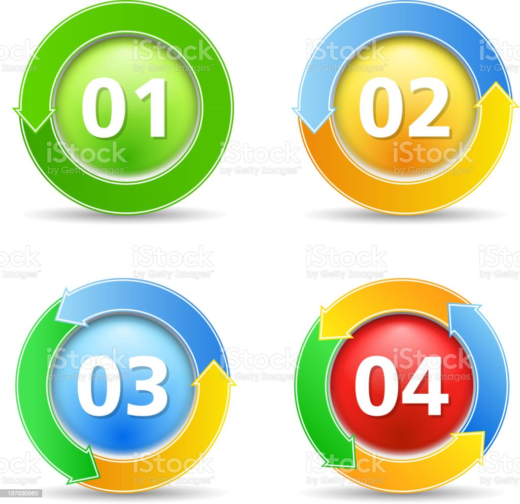 Buttons with numbers royalty-free stock vector art