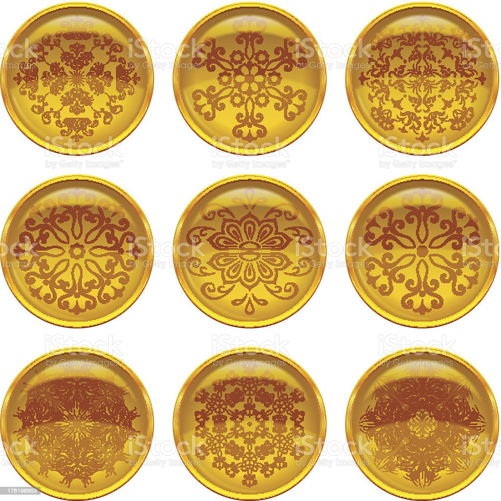 Buttons with patterns, set royalty-free stock vector art