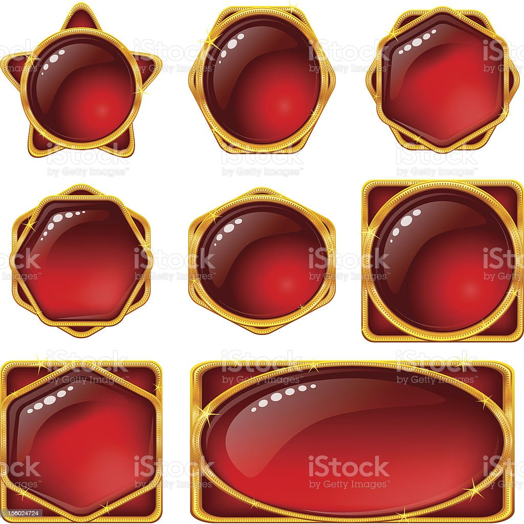 Buttons with red gems, set royalty-free stock vector art