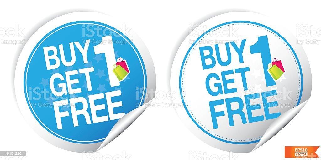 Buy 1 Get 1 Free Blue Sticker For Marketing Campaign. vector art illustration