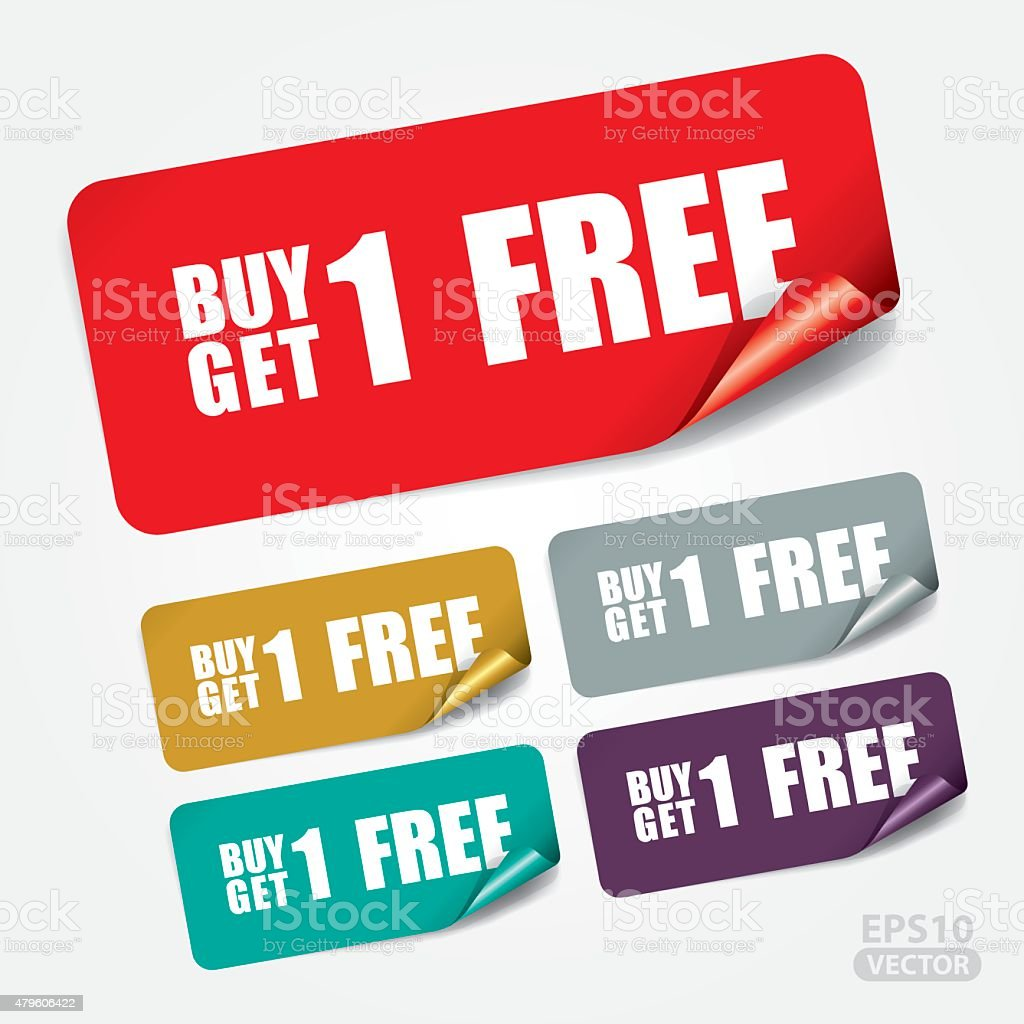Buy 1 Get 1 Free on Square Sticker vector art illustration