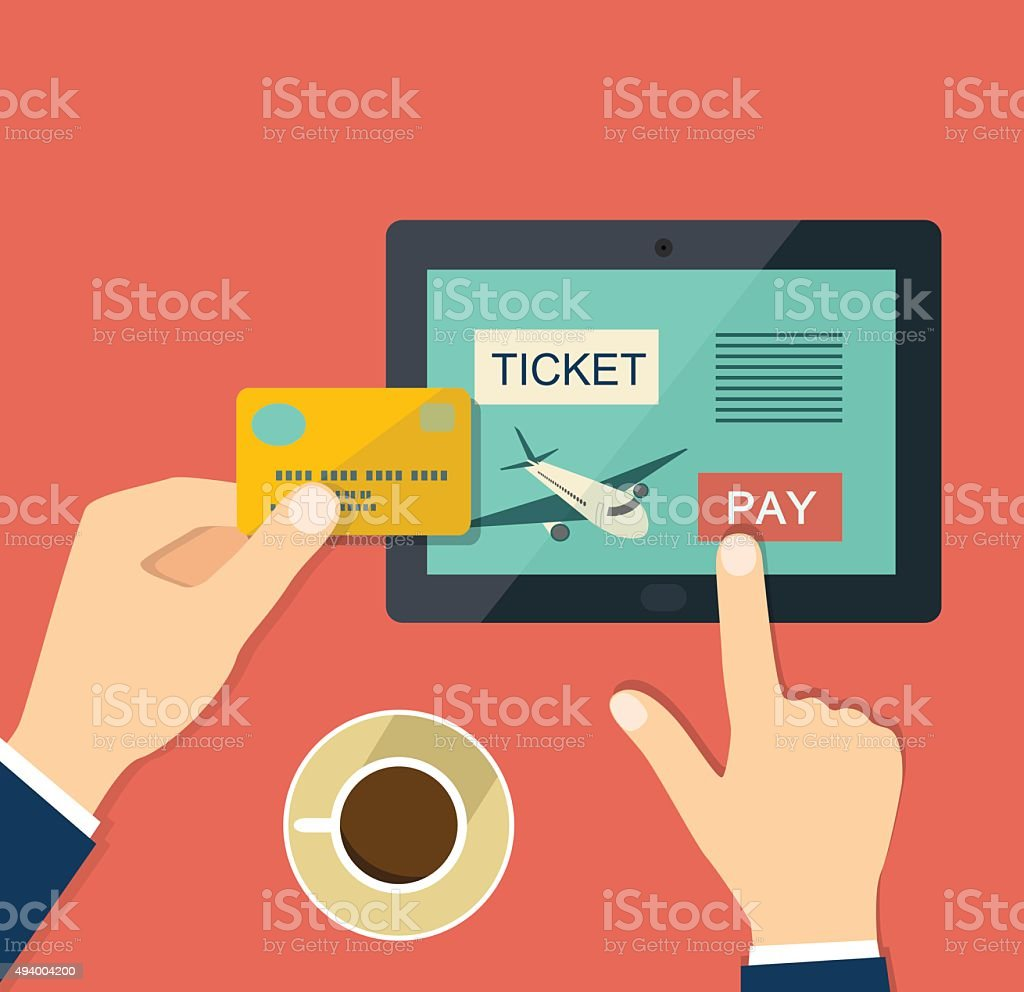 Buy air ticket online. Flat vector illustration vector art illustration