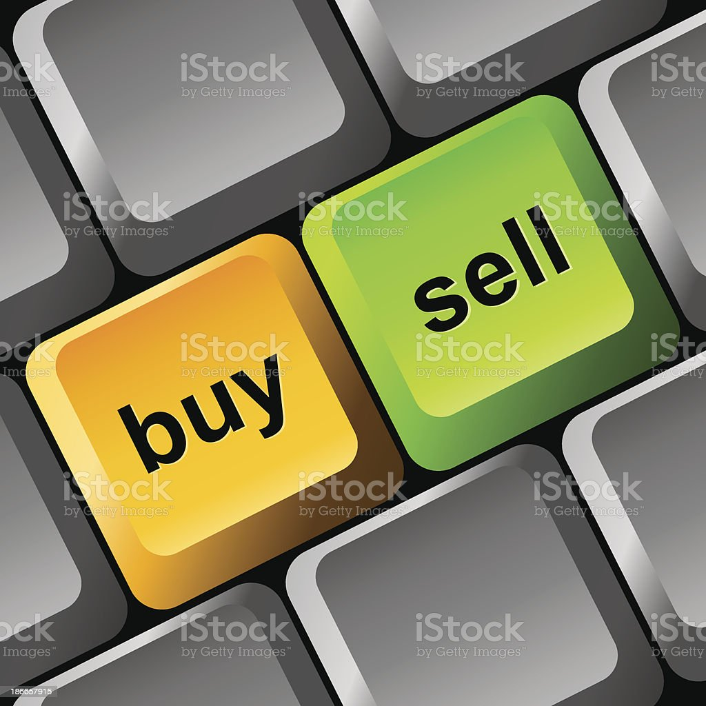 Buy and Sell button on the keyboard royalty-free stock vector art