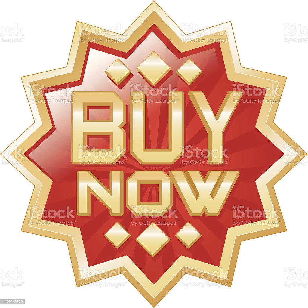 Buy now gold badge royalty-free stock vector art