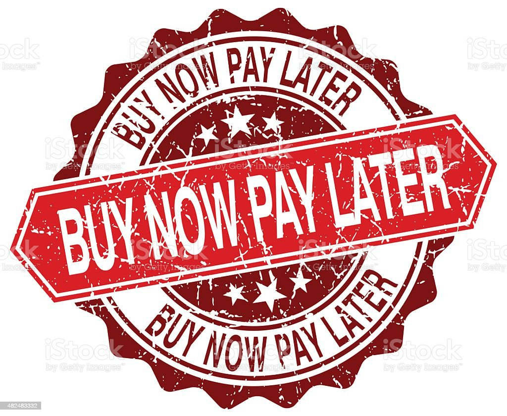 buy now pay later red round grunge stamp on white vector art illustration